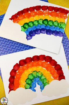 This Cotton Ball Rainbow Painting Craft is a creative project for St. Patrick's Day or a fun activity for your weather unit. Craft Projects For Kids, Diy For Kids, Art Projects, Craft Ideas, Preschool Crafts, Fun Crafts, Arts And Crafts, Classroom Crafts, Science Classroom