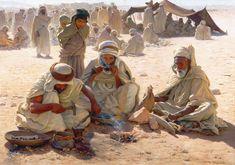 Algerie, une peinture représentant une scène d'un artisan bijoutier forgeron de la tribu arabe OULED NAIL du peintre T.F.M Sheard