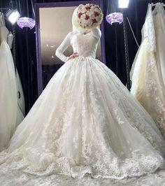 Ideas To Hijabi Wedding Dress Gowns Long Sleeve 101 Malay Wedding Dress, Muslim Wedding Gown, Hijabi Wedding, Muslimah Wedding Dress, Muslim Wedding Dresses, Muslim Brides, Wedding Bride, Bridal Dresses, Wedding Gowns
