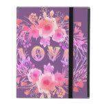 Purple LOVE in Watercolor Flowers iPad Folio Case