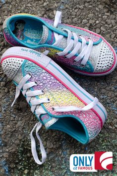 She'll feel super fun and special in new light-up Skechers.you'll be able to spot her easily too! Kid Outfits, Cute Outfits For Kids, Toddler Girl Outfits, Rainbow Sneakers, Light Up Sneakers, Kid Shoes, Cute Shoes, Shoe Boots, Bright Clothes