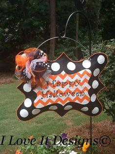 Happy Halloween Burlap Door Hanger by ILoveItDesigns on Etsy, $40.00 by carissa.lunk