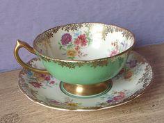 Vintage 1950 rosa taza y platillo taza de té por ShoponSherman