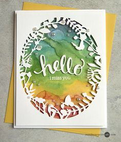 Jennifer McGuire card w/ liquid watercolor background. Her daughter Lila painted the rainbow background.