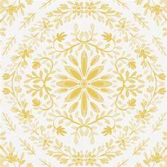Yellow Floral Damask Crib Sheet | Carousel Designs