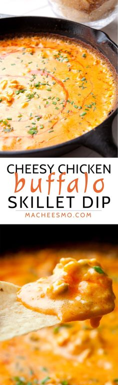 Cheesy Buffalo Chicken Dip baked in a skillet! This is a surprisingly easy dip made with real cheese and baked until piping hot. So addictive and always a crowd pleaser!   macheesmo.com