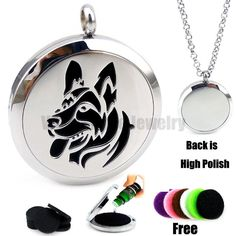 [Visit to Buy] 316 Stainless Steel Round  Silver Dog (30mm) Aromatherapy / Essential Oils Diffuser Locket Necklace #Advertisement
