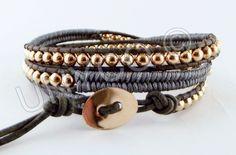 Leren triple herringbone wrap d.grijs /rose goud