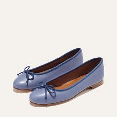 The Demi – Margaux Ballerina Flats, Ballet Flats, Loafer Mules, Loafers, Good Color Combinations, Cerulean, Leather Heels, Black Heels, Italian Leather