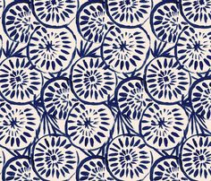 Medallions Navy Cream fabric by crystal_walen on Spoonflower - custom fabric