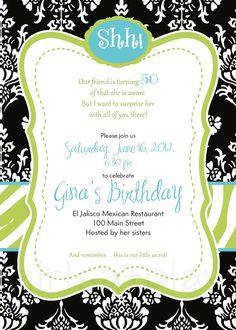Surprise 50th Birthday Invitation Invite Black by girlsatplay, $12.00