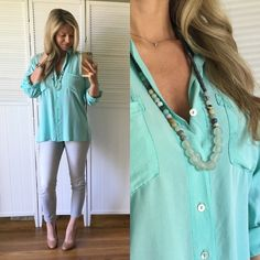 Last One▪️Soft Mint Button-down Brand New, tags attached. Size Large available. Modeling Small. Sold previously in Papaya. Uber soft and lays nicely. Such a beautiful soft color in person. 100% Rayon Tops Button Down Shirts