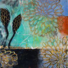 Floral encaustic pods stencil blue light