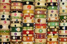 Crazy for vintage bakelite dot bracelets! Not just a collection, it's an obsession!