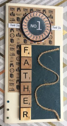 This is a tall cream Fathers Day Card. It has a circle at the top saying NO. 1 with Thank You either side of it. In wooden scrabble letters it says : FATHER It features: Wooden scrabble letters Twine Gem detail Textured paper Inside insert reads : A Father Just Like You.....
