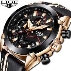 763f585699f 2018 LIGE Mens Watches Top Brand Luxury Leather Quartz Watch Men Military  Sport waterproof Gold Watch