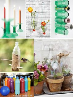 25 DIY Ideas to Recycle Your Potential Garbage (Love the min greenhouses made out of the tops of bottles!)