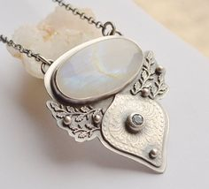 Handmade Rainbow Moonstone  Necklace with by EONDesignJewelry