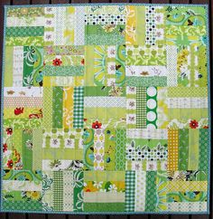 Spring Patchwork Baby Quilt by Red Pepper Quilts via Flicker.