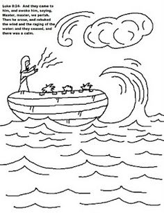Galilee Boat Coloring Pages The Sea Being Crossed By