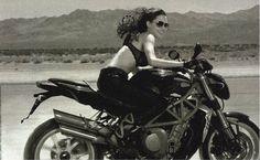 Angelina Jolie on a MV Agusta Brutale, photographed by Annie Leibovitz for Vanity Fair, Jan 2007