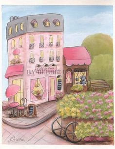 French Cafe - Paris Print. This print is a copy of my original French Cafe Paris painting. Professionally printed on 8.5 x 11 paper.
