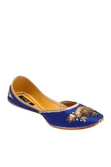 Blue Jutti With Hand Embroidered Antique Gold Zardozi Work by Coral Haze,  Womens Juttis &