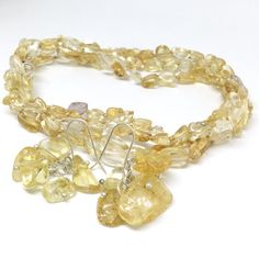 Long Citrine Necklace Sterling Silver Citrine Bead by PetitDepot
