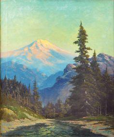 this painting brings in aqua tones, blues/ whites, browns/beige, blacks, dark green  mt hood paintings | 6217: Painting, Robert Wood, Mt. Hood