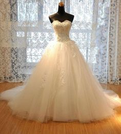 Luxury A-line Strapless Sweetheart Neck Rhinestone Beaded Appliqued Chapel Train Ivory Tulle Wedding Dresses,Off the shoulder dress