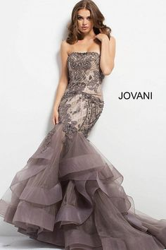 Charcoal Embellished Strapless Mermaid Jovani Evening Gown Shop Largest Selection of Jovani Dresses at unbeatable price. Jovani Dresses, Prom Dresses, Wedding Dresses, Panoply Dresses, Formal Evening Dresses, Evening Gowns, Beautiful Gowns, Beautiful Outfits, Mermaid Evening Gown