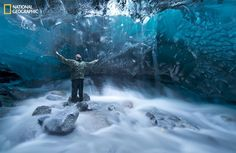 Incredible shot from beneath a glacier