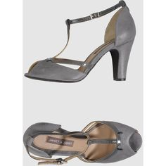 Janet & Janet Pumps With Open Toe ($82) ❤ liked on Polyvore featuring shoes, pumps, grey, t strap shoes, t bar shoes, gray pumps, t strap pumps and grey pumps