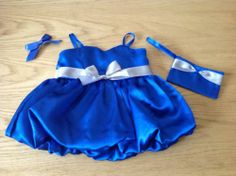 BEAR FACTORY AND BUILD A BEAR CLOTHING - GORGEOUS BLUE PROM DRESS + MATCHING BAG