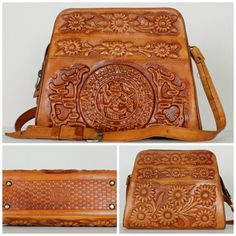 This Tooled Leather Aztec Callender Purse  Vintage Mexican Tooled Leather  Purse is so lovely! 05adcf0f4ece3
