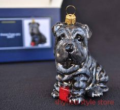 Sharpei Puppy Dog Komozja Family Glass Ornament Christmas Tree Holiday Grey New