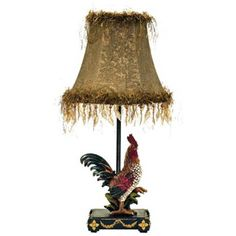 A gold empire shade with feather details gives the Dimond Lighting Petite Rooster Lamp its glam look. The detailed rooster base makes this lamp perfect for your modern farmhouse space. It requires one incandescent bulb (not included). Light Table, A Table, Table Lamps, Handmade Lamps, Elk Lighting, Lighting Ideas, Gold Fabric, Shabby Chic Cottage, Fabric Shades