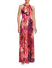 The Essential Printed Halter Chiffon Maxi Dress