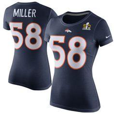 Women's Denver Broncos Von Miller Nike Navy Super Bowl 50 Player Pride Name & Number T-Shirt