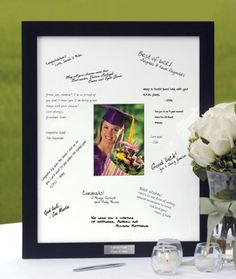 Unique Graduation Table Centerpieces | Guest Book Frame for a Graduation Party (click to see larger image)