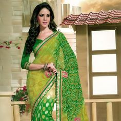 Green Faux Georgette and Faux Georgette Jacquard Saree with Blouse