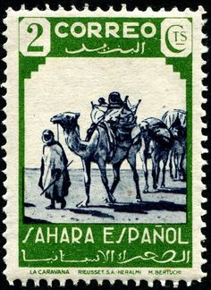 Camel caravan, designed by Spanish artist Mariano Bertuchi (1885-1955), printed by photogravure (Rieusset S.A.), and issued for use in Spanish Sahara in 1943, Scott No. 52.
