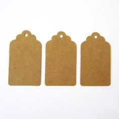 50 pretty scalloped edged brown kraft card decorative parcel gift tags - 40x70mm