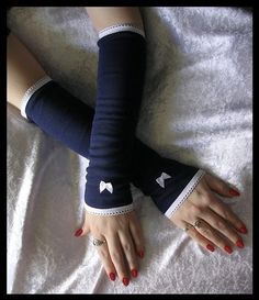 Navy Arm Warmers with Sweet Lolita White Satin Bow