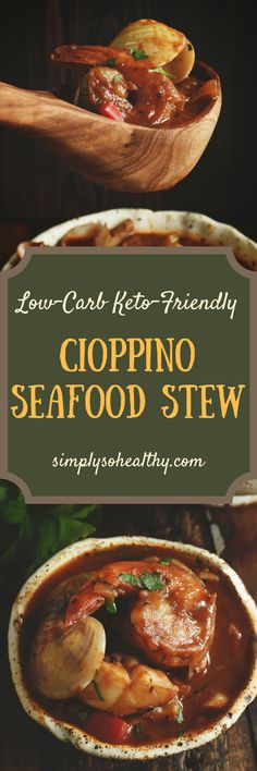 This recipe for Cioppino Seafood Stew makes a hearty meal for seafood lovers. This version of the traditional stew can be part of a low-carb, keto, diabetic, gluten-free, grain-free, Atkins, or Banting diet.