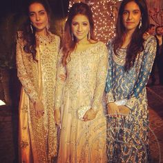 """Maliha aziz, Soha Hafeez sheikh in Farah Talib aziz - Shahrina Hashwani in shamsha at a recent wedding. FTA SS15 customised couture collection is what we…"""