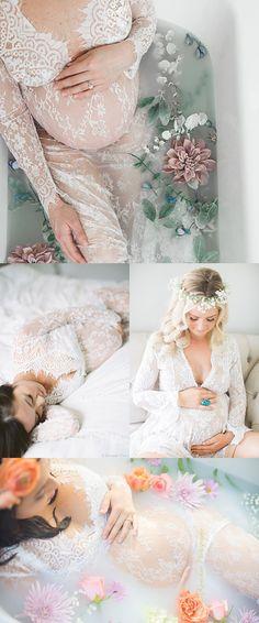Popular Maternity Lace Dress for Photoshoot    Maternity Photoshoot ideas Romantic milk bath, baby bump, flowers