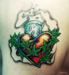 Marijuana leaves heart tattoo design #marijuana #marijuanatattoos http://budposters.com/
