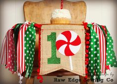 CHRISTMAS Birthday High Chair Highchair Banner by RawEdgeSewingCo