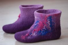 Felted wool slippers Size 37  US 7  Ready to ship by zavesfelt